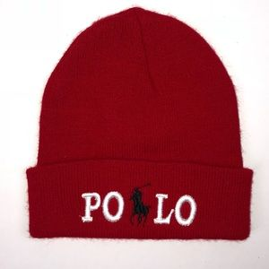 Polo Red Beanie Hat Pony